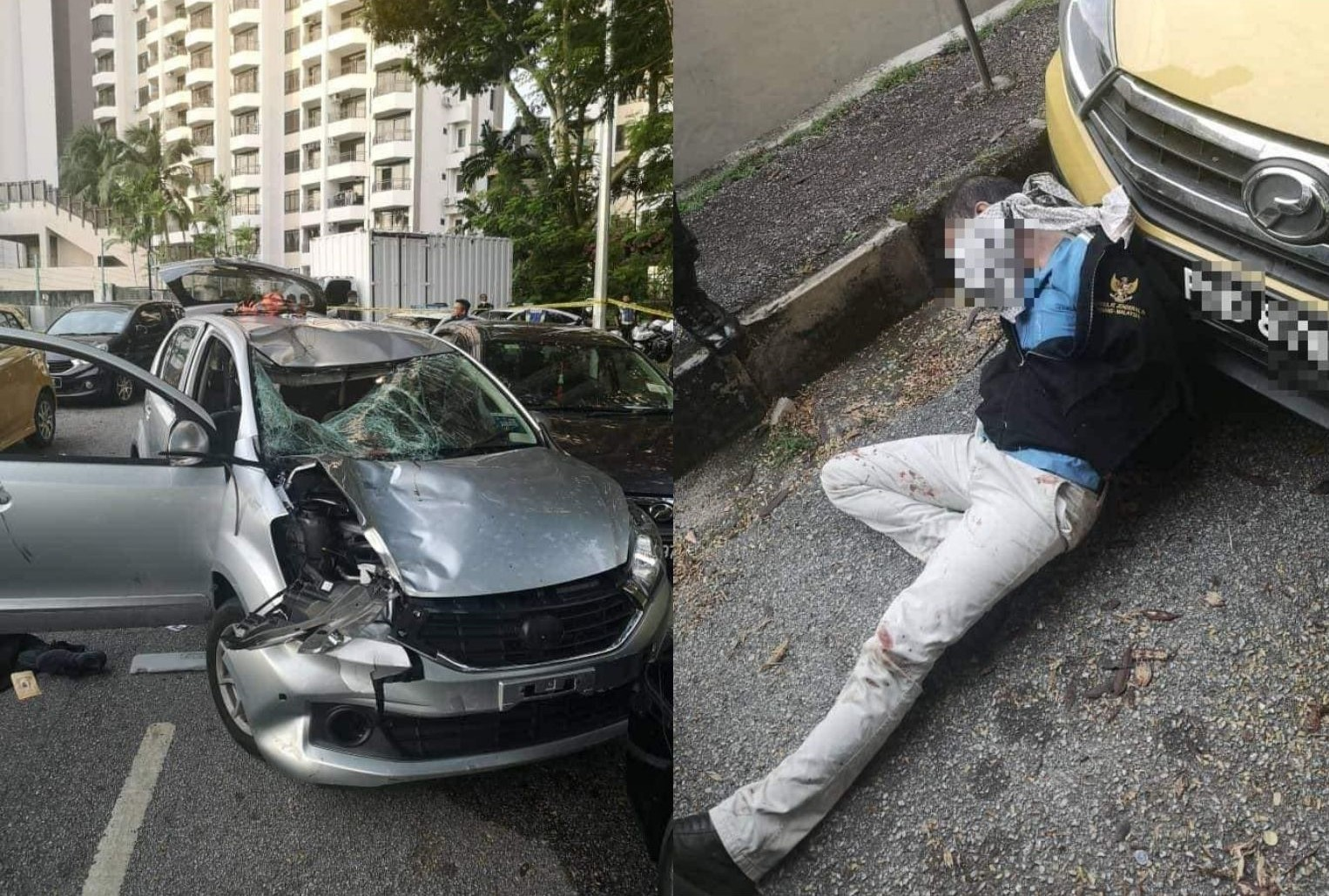 The elderly man was struct while crossing the road and had died on the spot. Meanwhile, the police fired four shots at the suspects' vehicle.