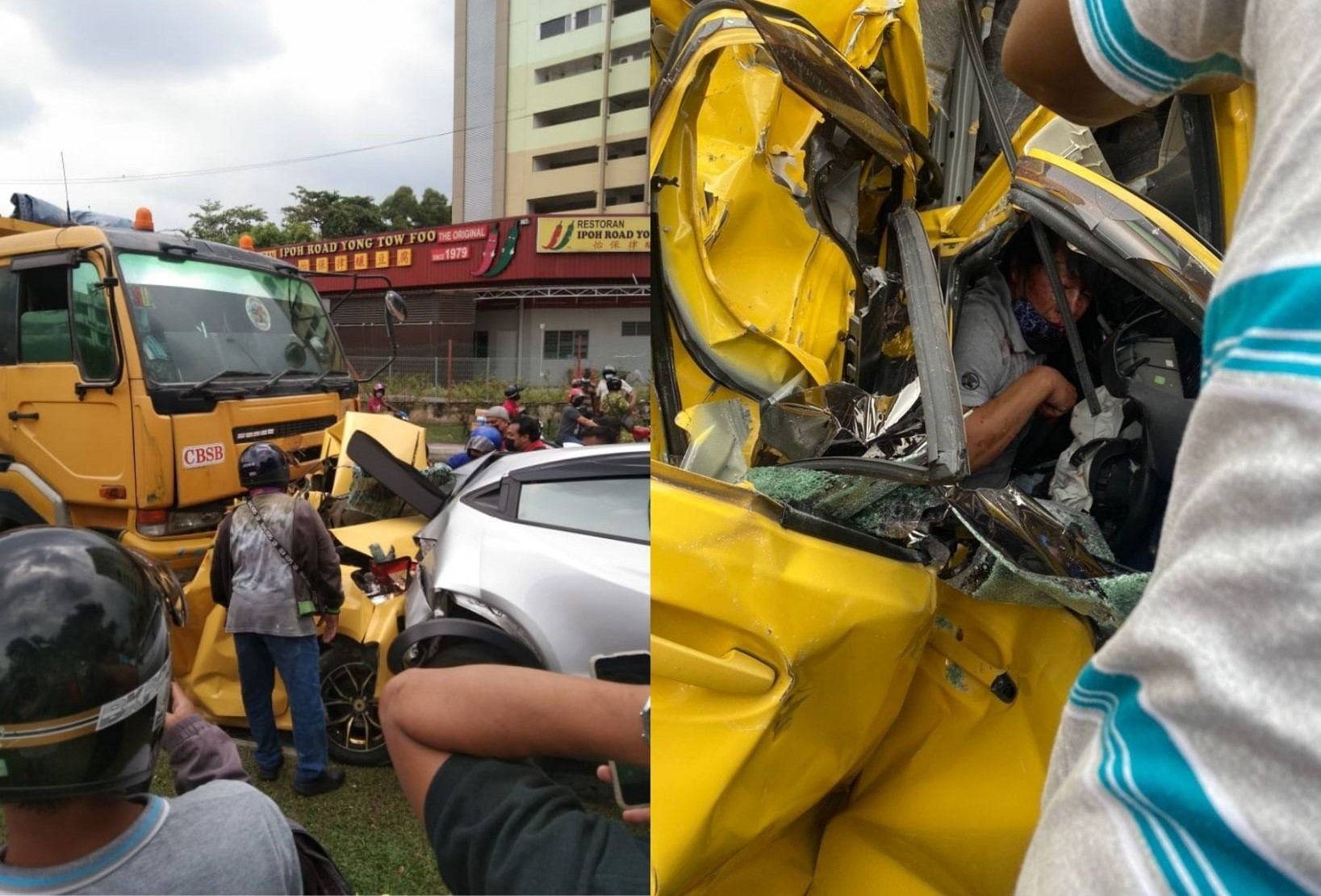 Man Survives Freak Accident Of A Lorry Crashing Into His Myvi