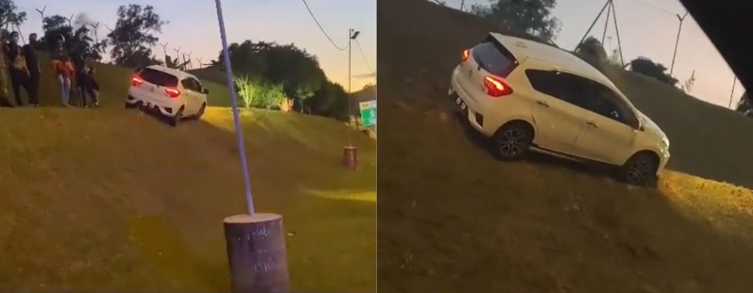 KL: Perodua Myvi Drove Off Road And Got Stuck On A Slope