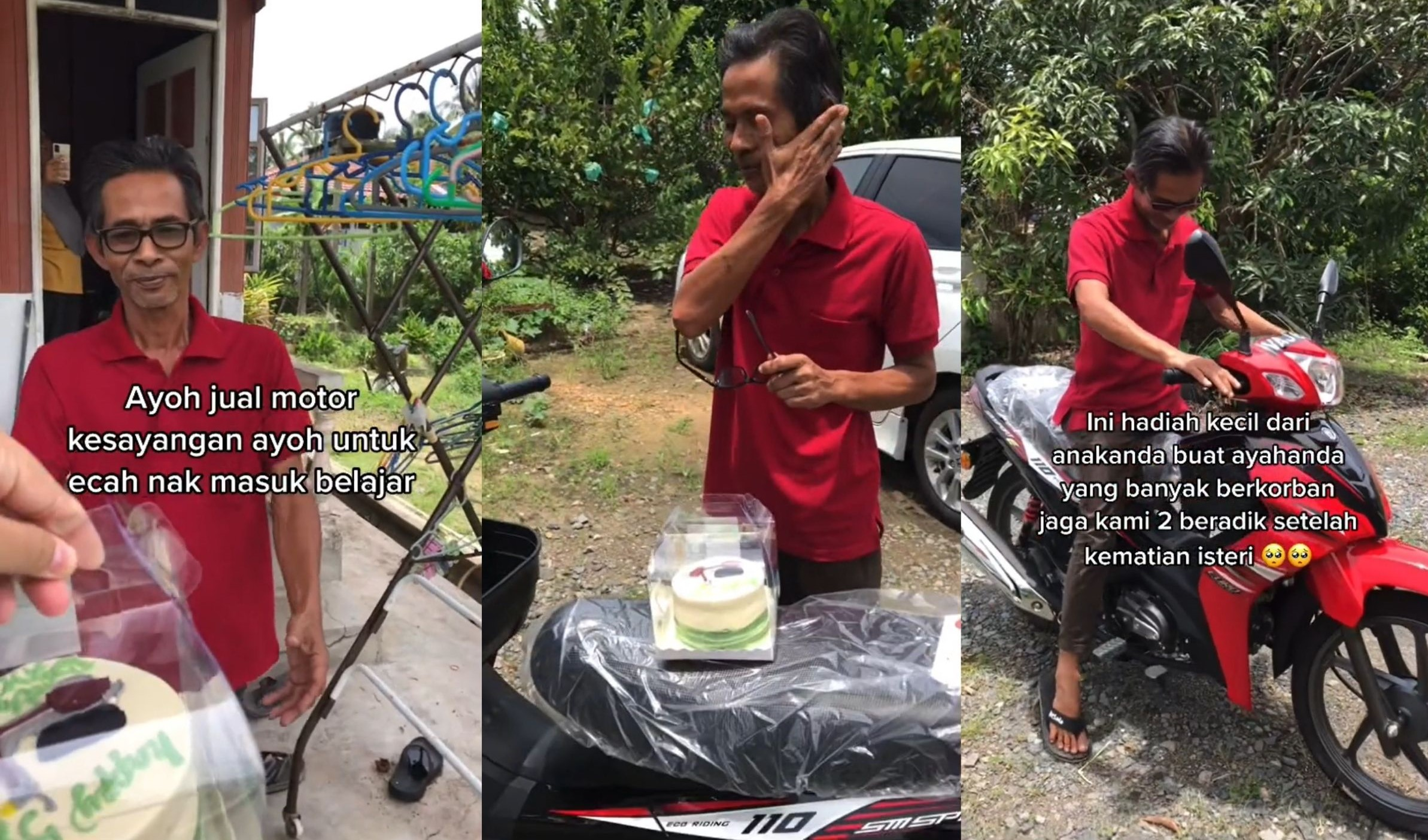 Daughter Surprises Father Who Sacrificed His Motorcycle To Pay For Her Studies, With A New One